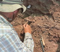 Scientists excavate the remains of <em>T. rhadinus</em> and other animals in southern Tanzania.
