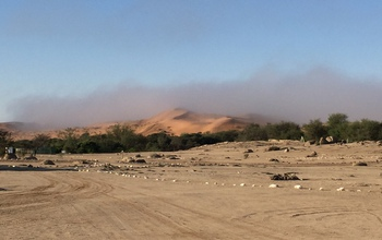 Fog, seen here receding in the morning, comes and goes quietly in the Namib Desert.