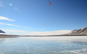 A helicopter flies the AEM sensor over Lake Frxyell in the McMurdo Dry Valleys.