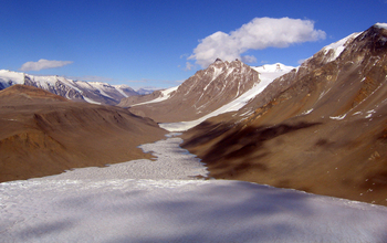 The McMurdo Dry Valleys with a view of Lake Hoare and the Canada Glacier.