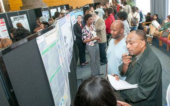 people at a poster session at the recent Garden State LSAMP research conference