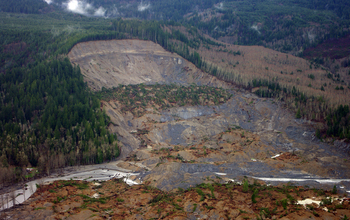 USGS aerial survey of the upper parts of the Oso, Washington, landslide.