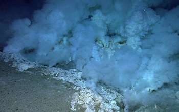 smoke ad rock formations on the bottom of the ocean floor