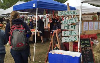 farmers market sign with text organic raw milk meat flour eggs