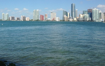 The skyline of downtown Miami along Biscayne Bay