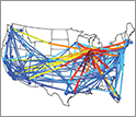 maps of united states showing flight delays by routes