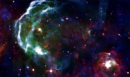 Photo of the remains of a star which exploded around 30,000 years ago is visible via the NRAO.