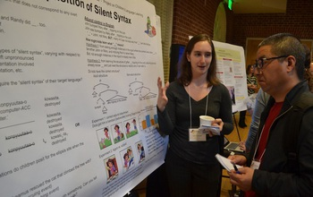 graduate student at a poster session