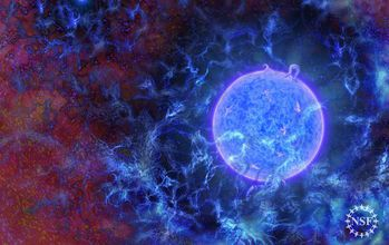 Artist�s rendering of the universe's first, massive stars.