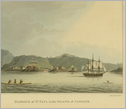 Antique print showing boats