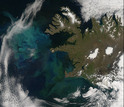 Blue and green in this satellite image show the spring bloom of plant plankton in the sea.