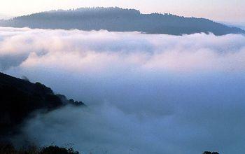 Fog over the estuary of the Klamath River along the Pacific Coast.