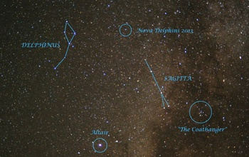 image of the sky with highlighted novae and constelations delphinus, sagita, the coathanger