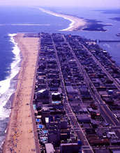 Ocean City, Maryland (foreground) and Assateague National Seashore rest on ever-shifting sands.