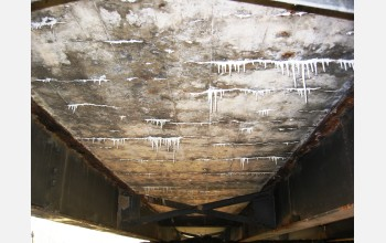 Before renovation, the underside of this Springfield, Mo., bridge deck was cracked and decaying