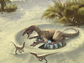 artist rendition of a dinosaur with eggs and two babies