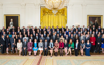 Photo of President Barack Obama and PECASE awardees in the White House