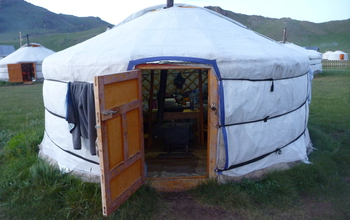 Tents at the site in Mongolia where researchers worked