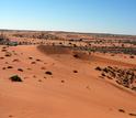 Red sand dunes in Africa's Kalahari Desert.