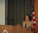 NSF Director France Cordova addresses 2014 PECASE awardees at a gathering at NSF.
