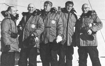 Phil Smith on a visit to Antarctica with rocketry pioneer Wernher von Braun.