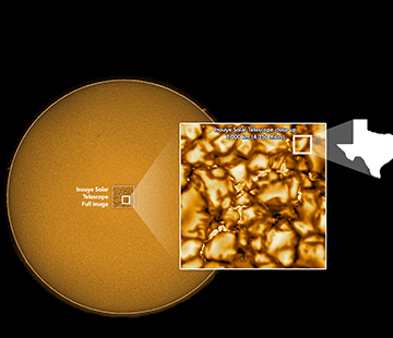 The sun, and the close-up image of it captured by the Inouye Solar Telescope