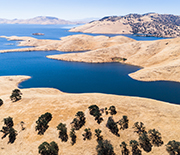 View of the San Luis Reservoir in Southern California.
