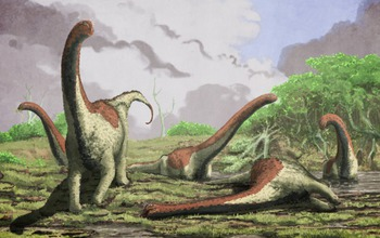 artist's rendition showing the dinosaur's likely paleoenvironment.