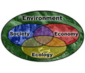 Intersecting circles containing the words Society, Economy and Ecology surrounded by Environment.