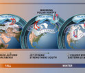 illustration showing 3 globes of continents and the jet stream and polar vortex