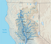 Map showing the Sacramento River and its watershed, which are part of the Central Valley.