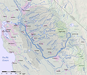 Map showing the San Joaquin River and its watershed, which are part of the Central Valley.