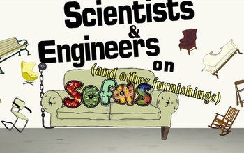 graphic showing a sofa and ifferent chairs and text scientists on sofas and other furnishings