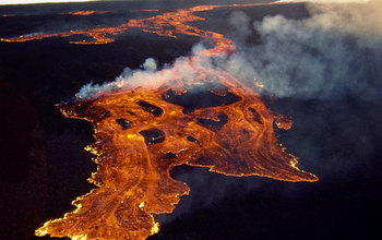 aerial view of burning lava