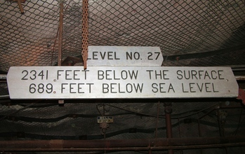 A sign that says Level number 27, 2,341 feet below the surface, 689 feet below sear level