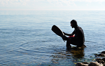 As part of the ancient lakes research, scientist Stephanie Hampton prepares to explore Lake Baikal.