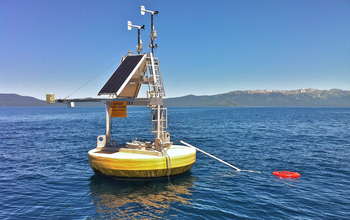 A buoy with equipment on Lake Tahoe on the California-Nevada border