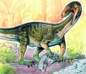 The new species <em>T. rhadinus</em> hunting an early close relative of mammals.