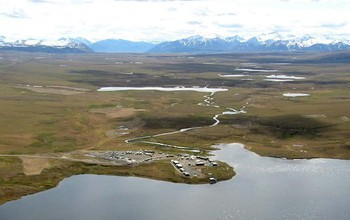 Aerial view of the NSF Arctic LTER site including research buildings, mountains, land and water