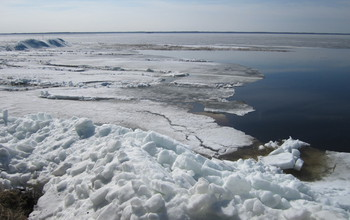 Ice on Lake Vortsjarv in Estonia