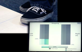 picture of two feet and a graph