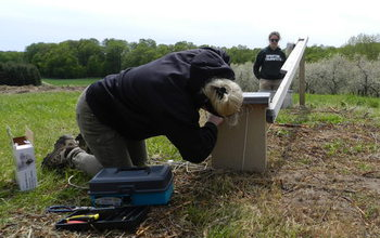 Researchers Megan Shave and Emily Oja attach a camera to the outside of a kestrel nest box.