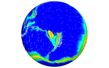 Image of the Pacific and the Australian tectonic plates and the New Hebrides and Tonga microplates.