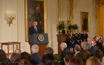 President Obama delivers remarks at the National Medals presentation.