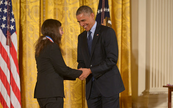 President Obama presents the National Medal of Science to awardee May Berenbaum