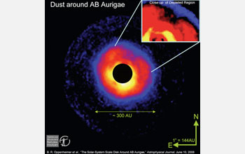 Coronographic image of polarized light around the star AB Aurigae.