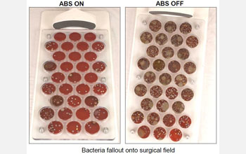 Petri dishes showing how bacterial colonies are reduced by the Air Barrier System.