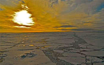 Photo of broken sea ice on the surface of the western Arctic Ocean.