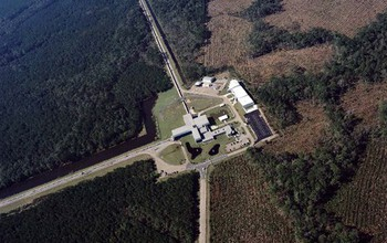 Aerial view of the LIGO detector in Hanford, Washington.