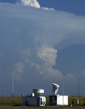Image of cloud radars catching a storm.